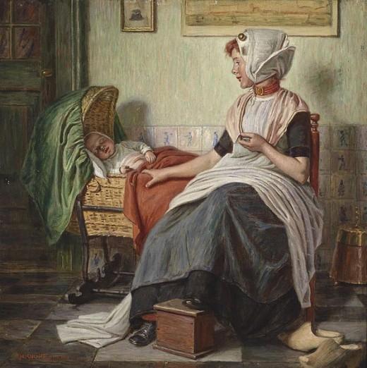 Madre vigilando a su hijo, superstición escocesa