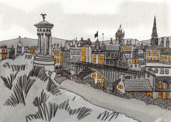 Lámina de arte pintada representando la ciudad de Edimburgo en blanco y negro con toques amarillos