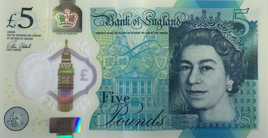 Billete nuevo de 5 libras del Banco de Inglaterra