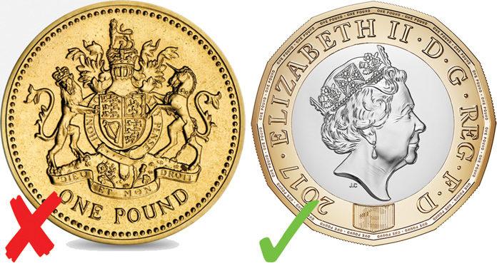 Moneda antigua y moneda nueva de una libra eterlina