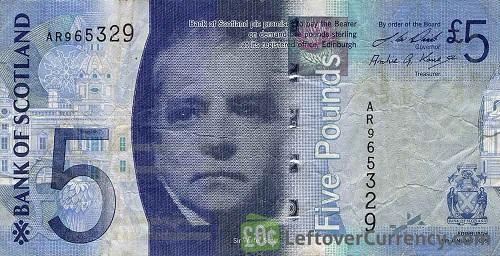Billete antiguo de 5 libras del Banco de Escocia