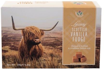 Caja del dulce escocés fudge con la foto de una vaca de las Tierras altas de Escocia