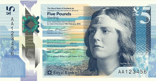 Billete nuevo de 5 libars del Banco Real de Escocia
